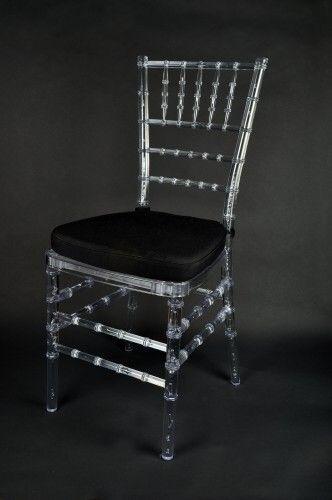 crystal chiavari chair with black pad | Ghost Ice Chiavari Banquet Chair with Black Seat Pad £4.90