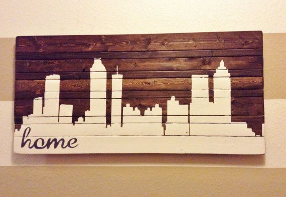 ANY CITY - Hand Painted Atlanta Skyline Wooden Sign - Can be Customized Any Way- Need to get one of these. :)