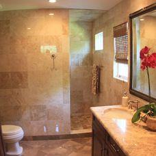 Walk-in no-door shower (with different tiling)