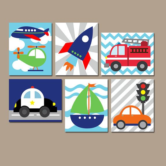 TRANSPORTATION Wall Art CANVAS or Prints Boy Nursery by TRMdesign