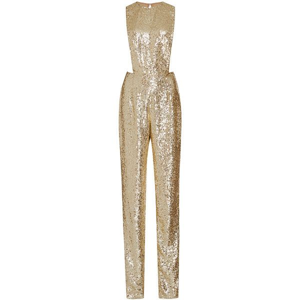 Naeem Khan Sequined Jumpsuit With Jewel Neckline ($8,490) ❤ liked on Polyvore featuring jumpsuits, jumpsuit, dresses, sequin jumpsuit, high waisted jumpsuit, brown jumpsuit, jump suit and sequin jump suit