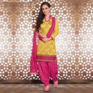 Yellow - Pink Patiala Suit