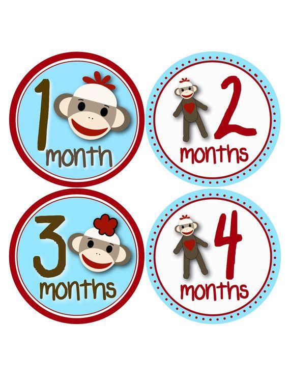 Baby Boy Sock Monkey Onesie Stickers by BuddhaBellies on Etsy, $9.00