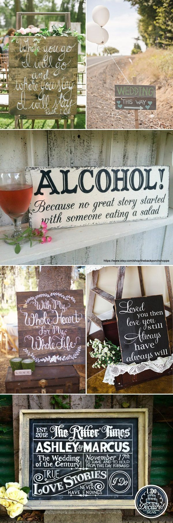 creative wedding sign ideas for country rustic weddings by carmen