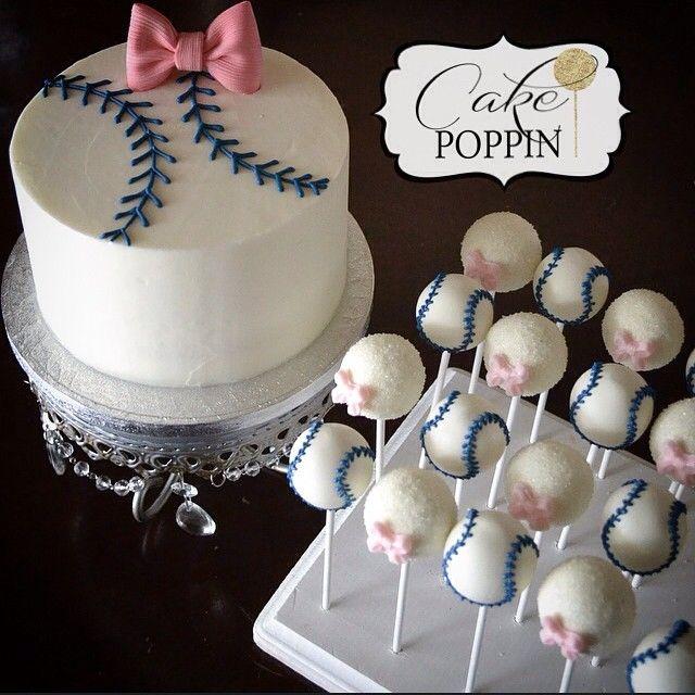 Bows and baseballs Gender reveal cake and cake pops