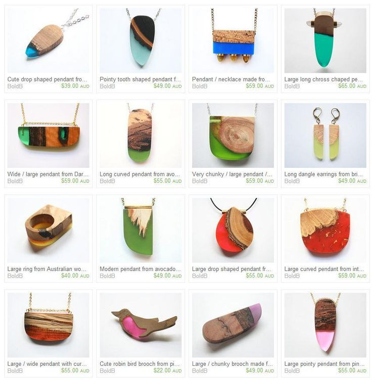 Australian wood and resin feature in these stunning pendants by talented German-born Australian jewelry designer Britta Boeckmann of Etsy shop BoldB, based in Melbourne.