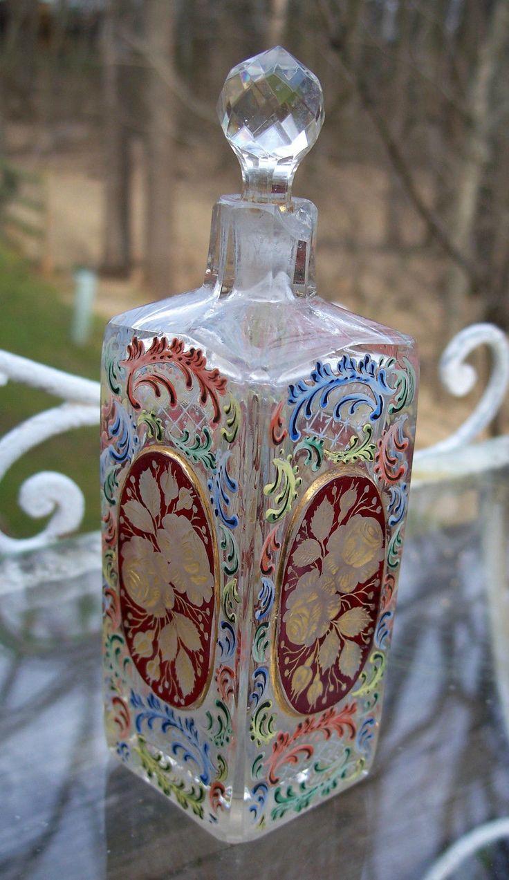 Vintage Moser Enamelled ART Glass Perfume Bottle Vanity Bottle Intaglio Roses | eBay