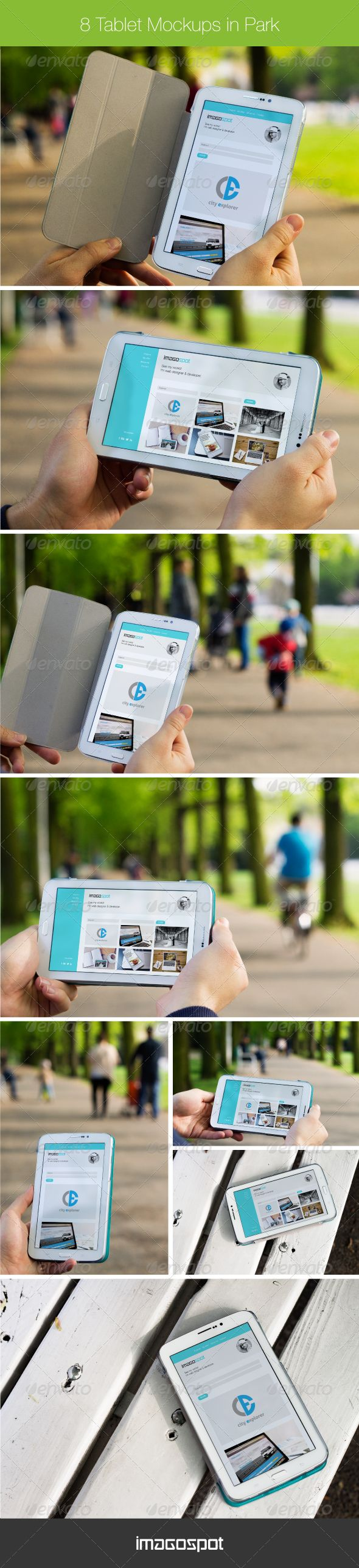 8 White Galaxy Tablet Mockups in Green Park — Photoshop PSD #grass #family • Available here → https://graphicriver.net/item/8-white-galaxy-tablet-mockups-in-green-park/7696308?ref=pxcr