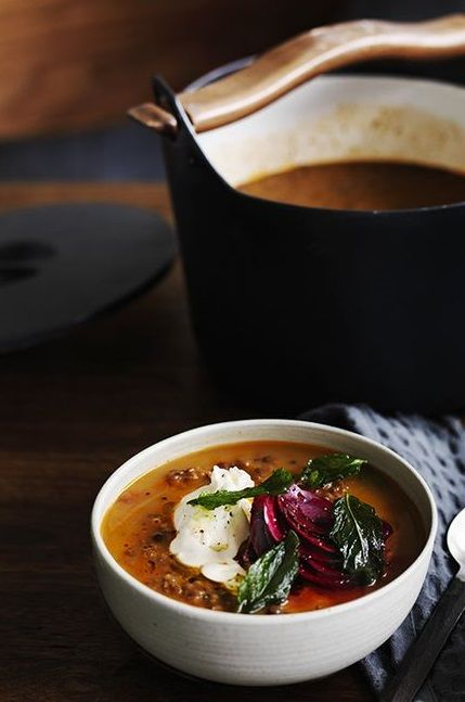 SPICED RED LENTIL SOUP with TAHINI, BEETS, POACHED EGG & FRIED MINT ...