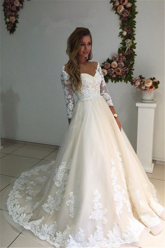 34 Sleeves Bridal Gowns 2018 A Line Champagne Appliques Tulle