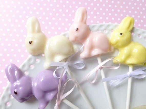 Easter Bunny Lollipops 1/2 dozen by sweetniks on Etsy, $9.00