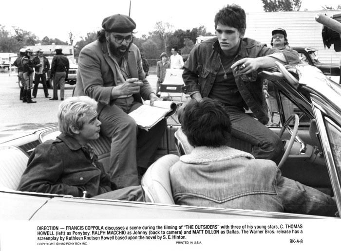 Behind the Scenes :: Coppola and the outsiders cast: Francis Ford, Thomas Howell, The Outsiders, Matt Dillon, Ralph Macchio, Movie, Ford Coppola
