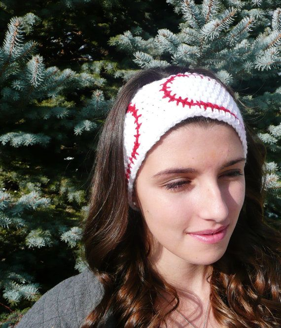 White and Red Baseball Ear Warmer by JourdanTaylorDesigns on Etsy, $15.00