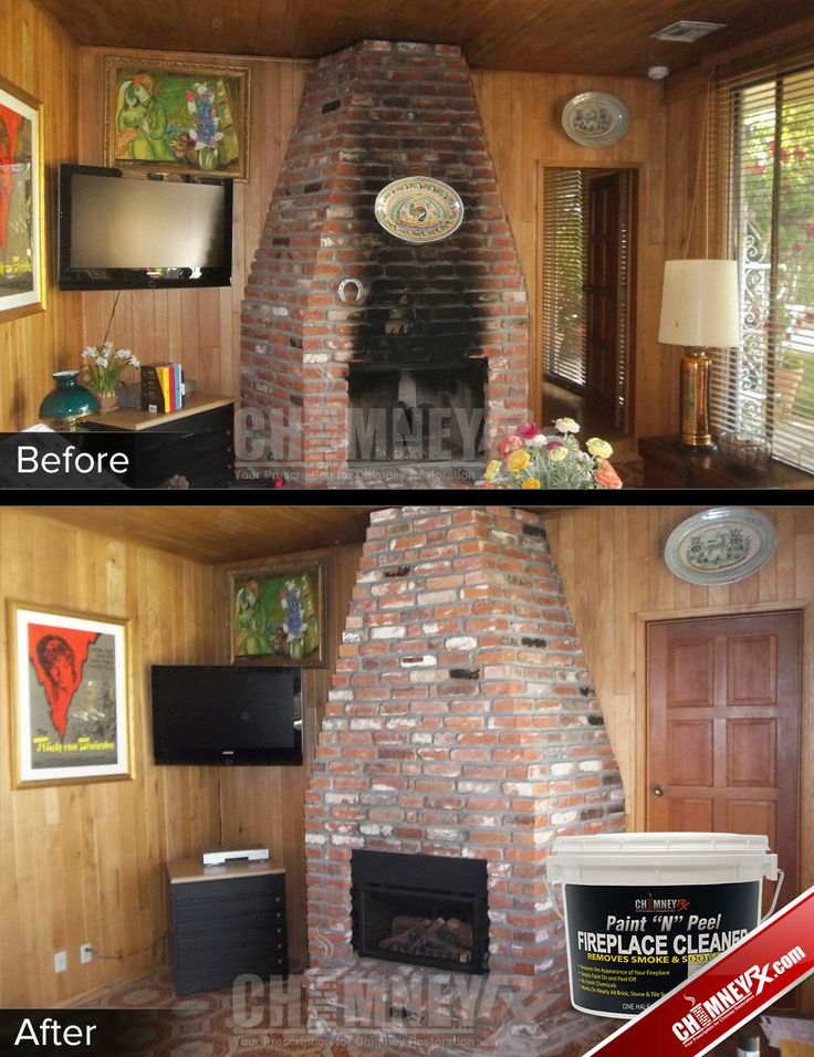 Black Smoke Stains On A Brick Fireplace Before And After Being Cleaned With Paint N Peel