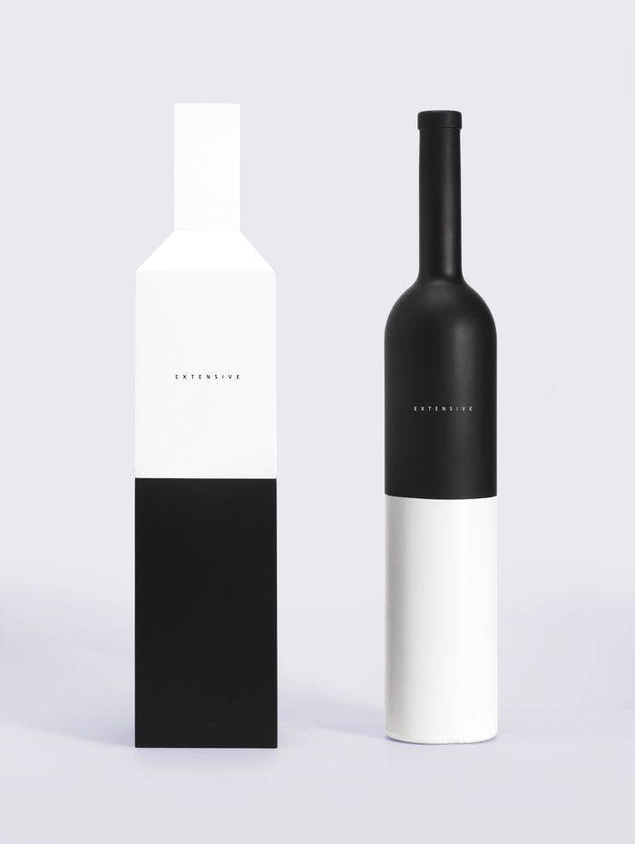 #striking #black&white #bottles #creative #minimal #packaging