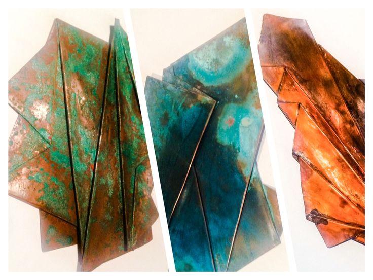 """Obra, de la serie """"geometría asimétrica"""" oxidación en cobre 70x35 cm sobre lienzo!!"""