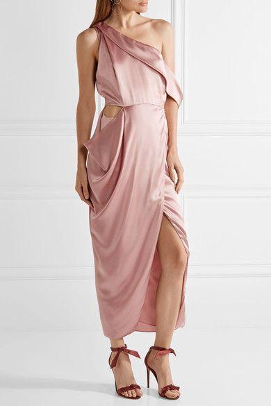 Michelle Mason | One-shoulder cutout silk-charmeuse midi dress | NET-A-PORTER.COM