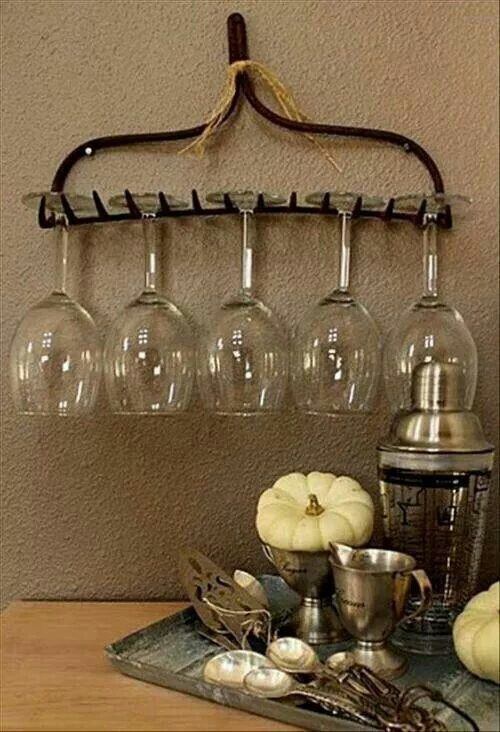 Old rake...and there you have it...an instant display for your wine glasses