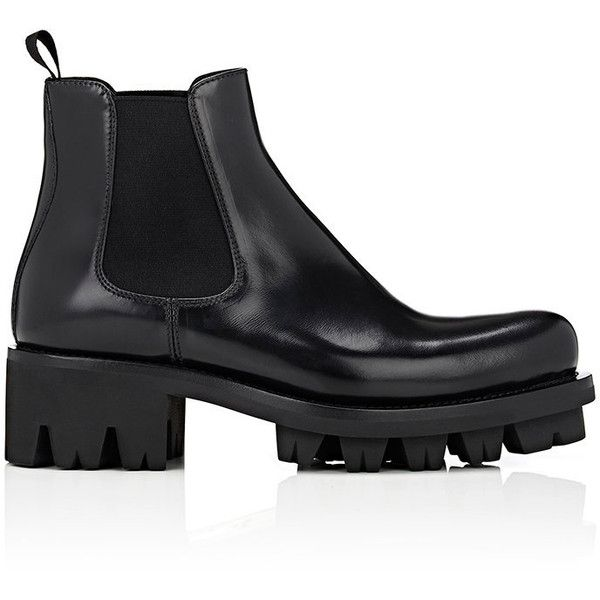 Prada Women's Lug-Sole Platform Chelsea Boots (£970) ❤ liked on Polyvore featuring shoes, boots, ankle booties, ankle boots, black, platform booties, black ankle booties, platform ankle boots, chelsea boots and black booties