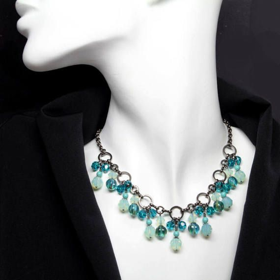 Aqua Teal Green Beaded Crystal Necklace Cluster by ElandraDesigns