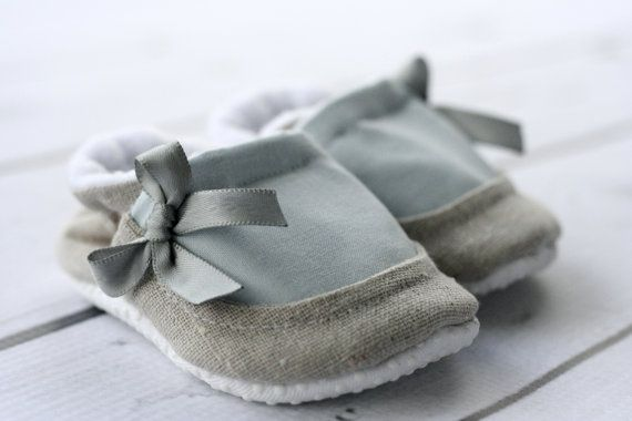 #baby #shoes    Shoes are made out of raw natural linen (100% cotton) and blue cotton, 100% fleece inside on all parts to make inside very comfortable! They can be worn with or without socks