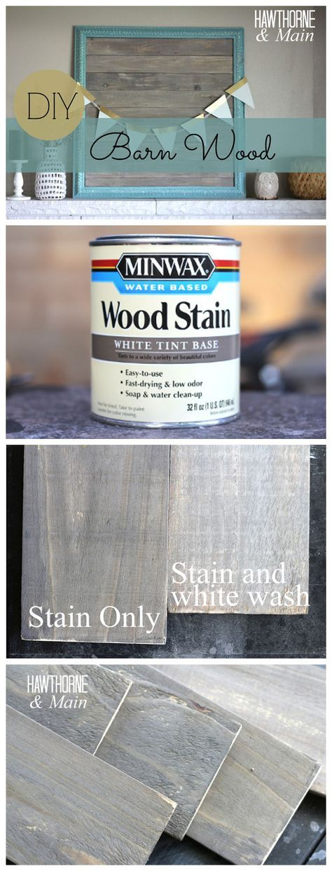DIY BARN WOOD :: She stained a piece of scrap board with Minwax white tint base wood stain in Slate and realized it was a bit too dark for her liking so she mixed the stain 50/50 with water which made a big difference. She let it dry over night and the next day used some ASCP in Pure White to white wash over the wood (mixing 1-2 Tbsp. with 1 cup water). She brushed it on then wiped it off with a paper towel. :: CLICK or here's another link: www.hawthorneandmain.com/2014/09/diy-barn-wood.html