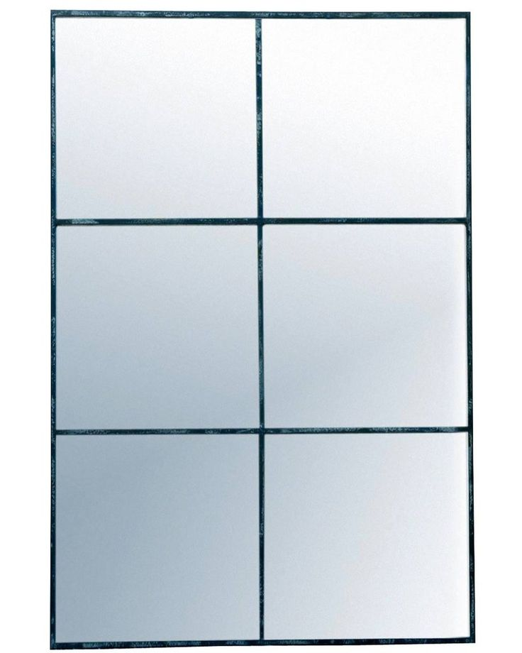 BLACK WINDOW PANE WALL MIRROR H:118CM, RECTANGLE, 6 PANE, LARGE