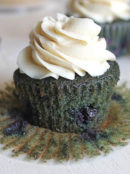 Blueberry Blueberry Cupcakes with Brown Sugar Buttercream
