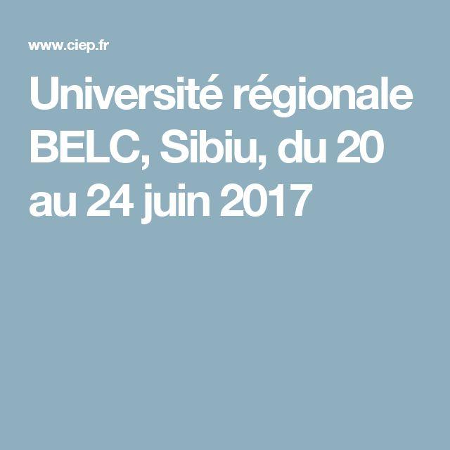 Université régionale BELC, Sibiu, du 20 au 24 juin 2017