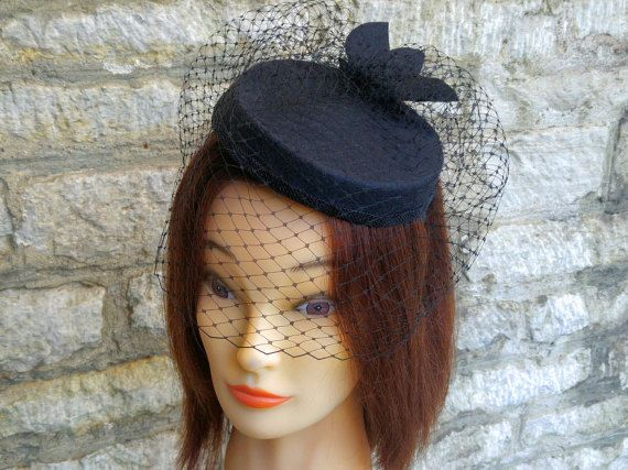 Pillbox hat with veil black cocktail hat and birdcage fascinator veil funeral…