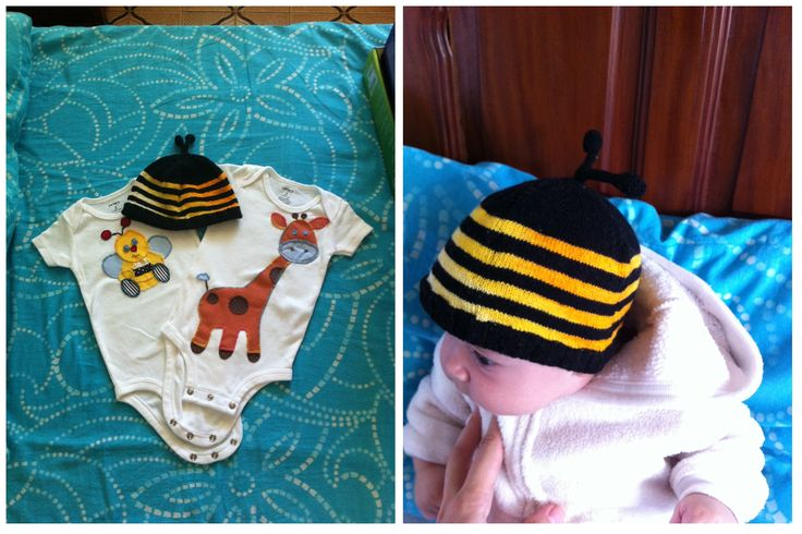 bumblebee baby hat & apliqué and embroidered onesies