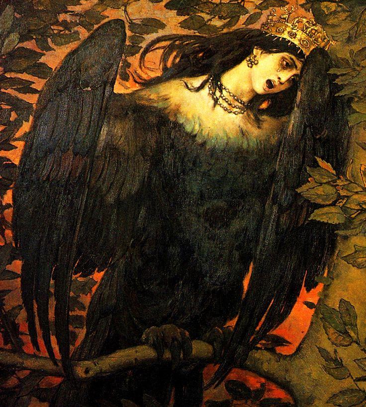 VASNETSOV, Viktor Mikhaylovich (1848-1926) Sirin and Alkonost – Birds of Joy and Sorrow, details 1896