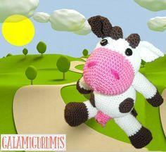 Vaca Amigurumi - Patrón Gratis en Español aquí: http://www.galamigurumis.com/vaca-lechera-patron/ ( Se tiene que trabajar el patrón en el mismo blog ya que no se puede copiar ni imprimir)