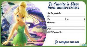 Invitation de la fée clochette dans la forêt blanche. Cette invitation est disponible au format pdf à imprimer en haute résolution. Télécharger Invitation