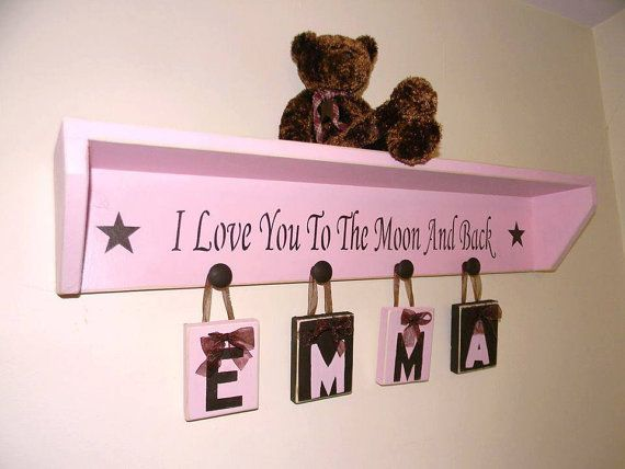Pink brown baby toddler GIRL nursery decor- Room Decor- Child Shelf with phrase I Love You to The Moon And Back  CUSTOM ORDER yours