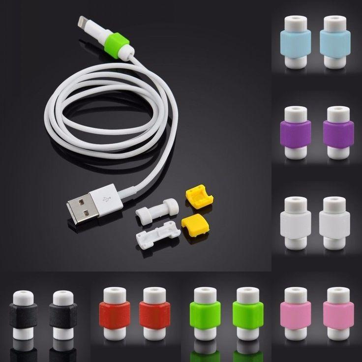 par de protetor de cabo iphone fio usb celular variados
