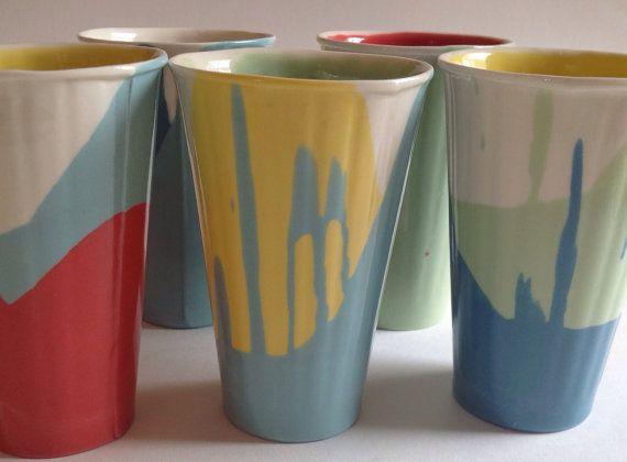 Porcelain Beaker Deco Green/ Lemon/ Lime Green (tall)