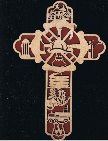 Firefighter wood cross