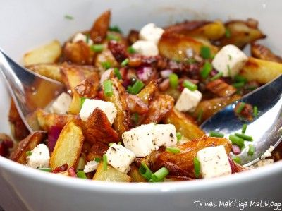 Lun potetsalat med soltørket tomat, fetaost og kapers | TRINEs MATblogg