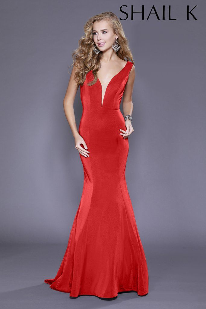 e7aeb9a3ca Plunging Neckline Red Mermaid Style Prom Dress 33932
