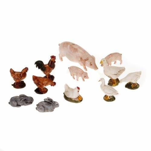 Animales de corral para belén 12 pz. | venta online en HOLYART