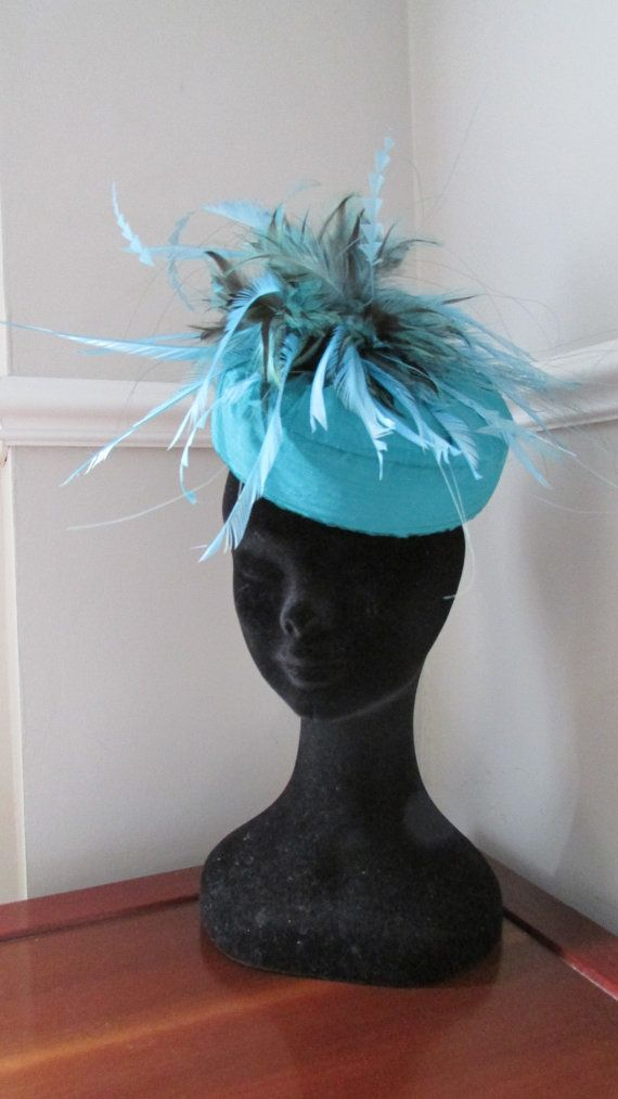 Blue Teal Aqua Pillbox Vintage Look Ascot by HatCoutureDesigns