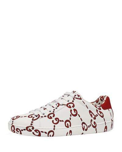 cced6629347 Gucci Ace GG Printed Leather Low-Top Sneaker