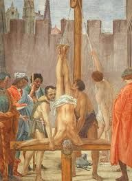 Image result for picture of peter on the cross being crucified