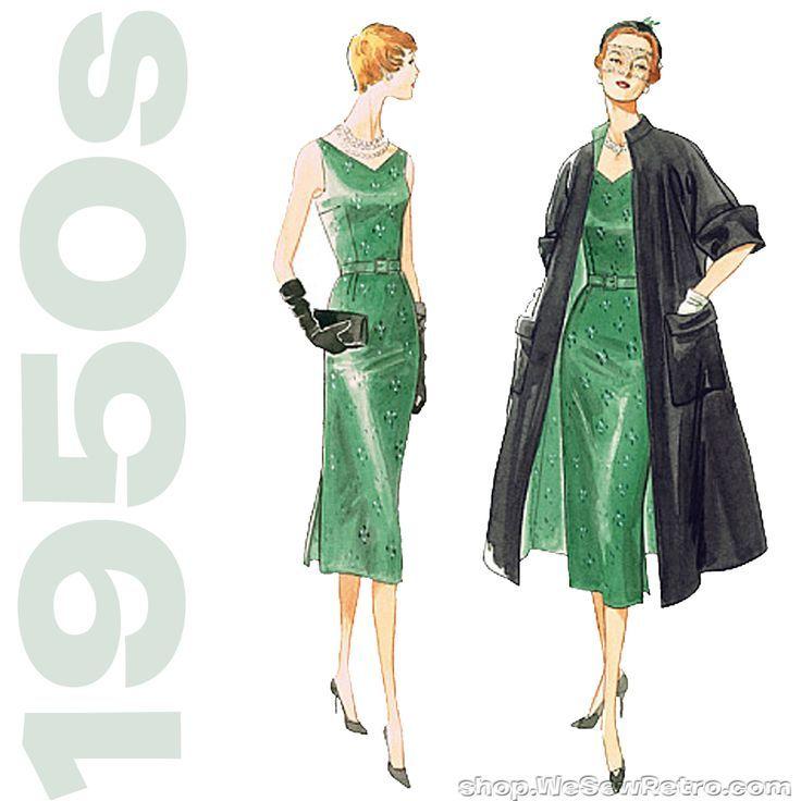 1950s Vintage Vogue V1137: Misses Coat, Dress & Belt Sewing Pattern