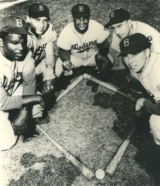 Jackie Robinson, Gil Hodges, Roy Campanella, Billy Cox, Pee Wee Reese - Brooklyn Dodgers infield, 1952