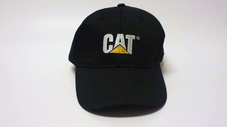 CAT Caterpillar Baseball Cap Hat Black Logo Metal Buckle Closure #CAT #BaseballCap