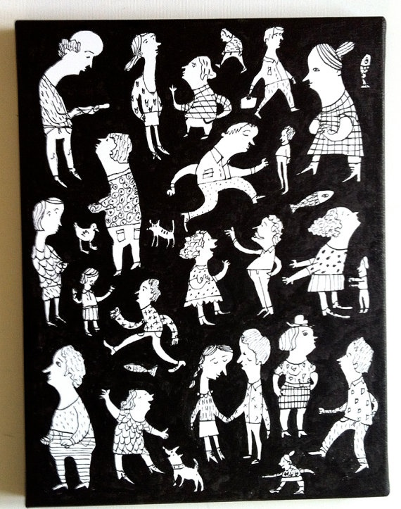 Black and White art painting  / ORIGINAL PAINTING / fun by Tosya, $120.00