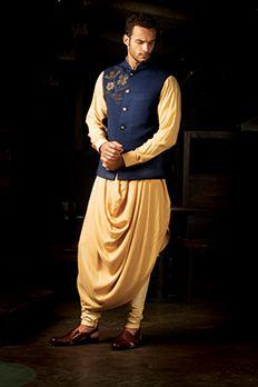 Silk quilting bundy embellished with zardosi work with cowl style kurta set from #Benzer #Benzerworld #Kurta #CowlKurta #IndoWestern #Indianwear #MensWear