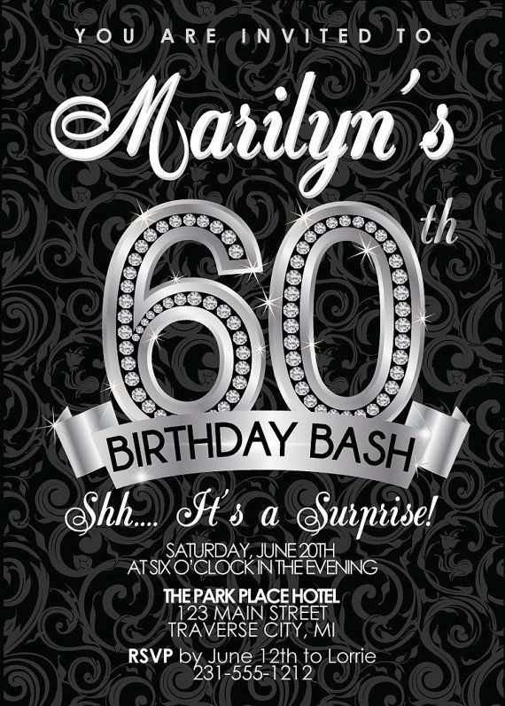 67 best adult birthday party invitations images on pinterest adult 60th birthday invitation adult birthday party invitation milestone black and silver diamond filmwisefo Image collections